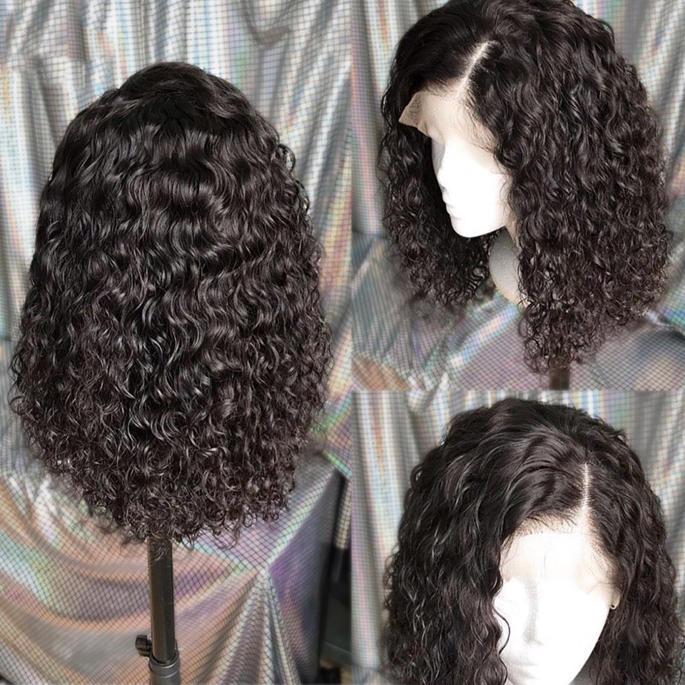 Curly Bob Lace Front Human Hair Wigs With Baby Hair Brazilian Remy Hair Short Curly Bob Wigs For Women Pre-Plucked Deep Wave Wig 4