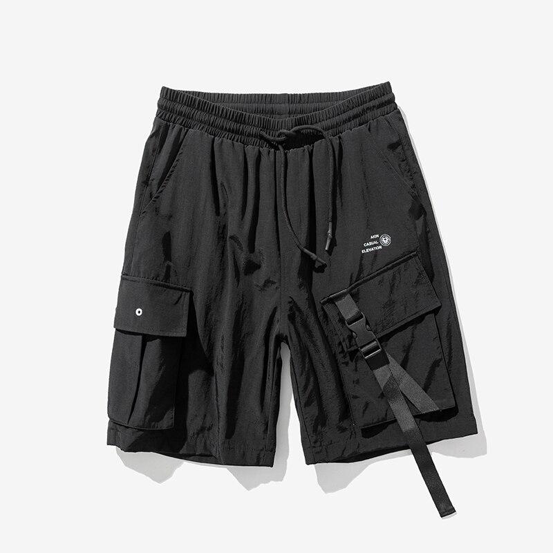2020 Men Hip Hop Short Streetwear Harajuku Cargo Shorts Pockets Ribbon Knee Length Shorts Homme
