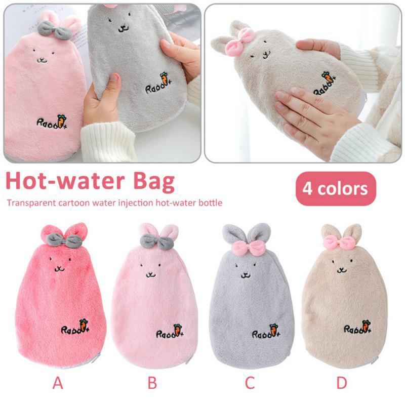 De conejo de dibujos animados extraíble lavable caliente Mini botellas de agua, portátiles mano chicas de mano de bolsillo de pies bolsas de agua caliente