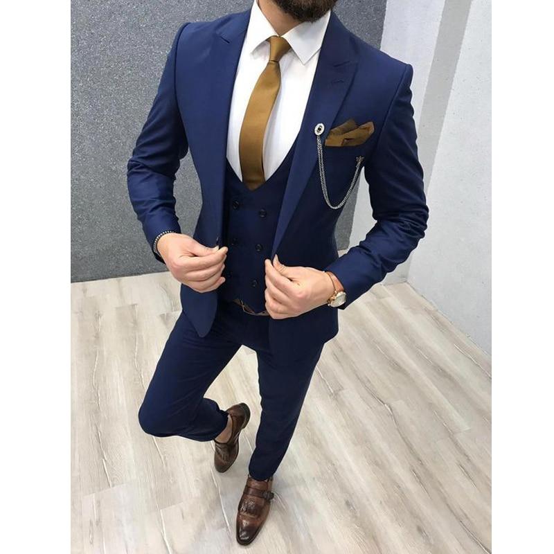 2020 Three Piece Royal Blue Men Suits Peaked Lapel Custom Made Wedding Tuxedos Slim Fit Male Suits  Jacket   Pants   Vest Tie