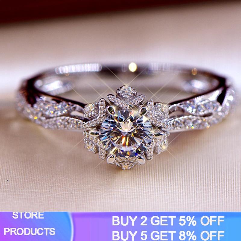 YANHUI Vintage Hollow Flower Wedding Bands 925 Sterling Silver Jewelry 1 Carat Lab Diamond Engagement Ring RA0772