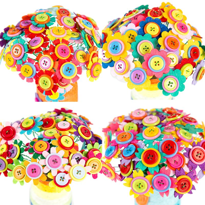 Mother Day Gifts Fake Flower Button Cloth Bouquets Kids Girls Kindergarten Handmade Puzzles DIY Material Bouquet 72XC