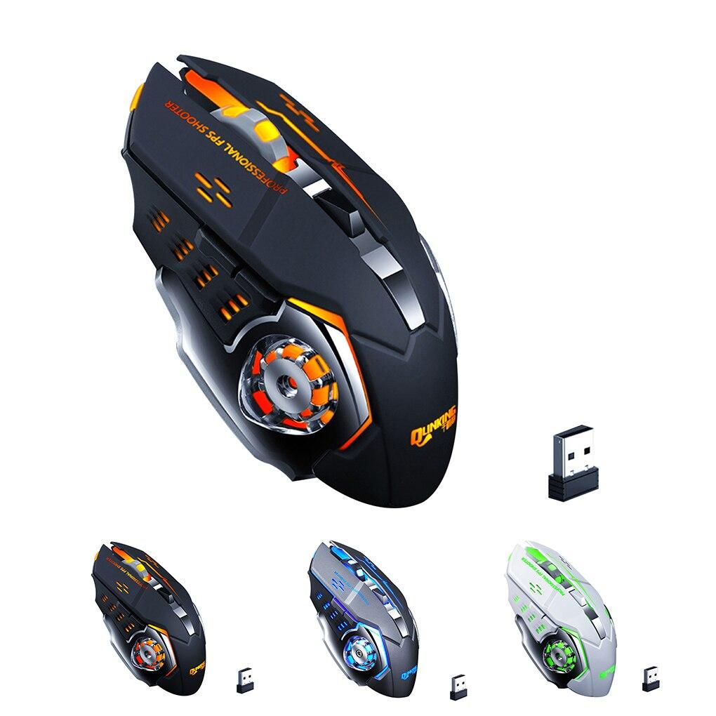Беспроводная мышь 2,4G Gamer 3200DPI, 6 кнопок, светодиодный, игровая мышь, настольный компьютер, перезаряжаемая мышь для ПК, ноутбуков, игр