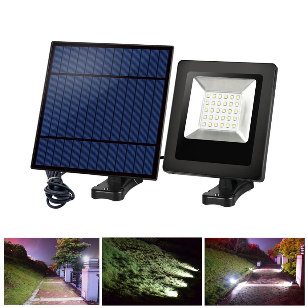 30LED Solar Floodlight 9.8ft Cord Solar LED Light Outdoor Waterproof Solar Garden Light Adjustable Solar Panel Wall Light