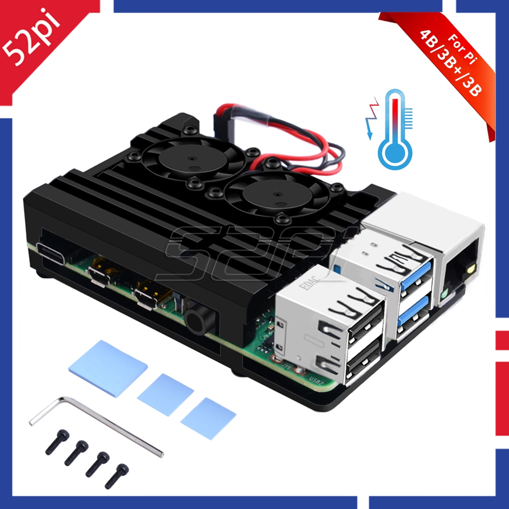 52Pi New! Raspberry Armor Case Aluminum Alloy Cooling Heatsink Metal Case With Dual Fan For Raspberry Pi 4 B / 3B+ / 3B