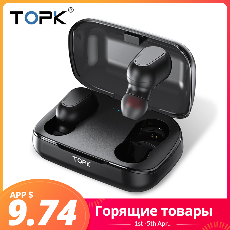 TOPK TWS Bluetooth 5.0 LED Display Wireless Bluetooth Headphones Earphones With Microphone Mini Cordless Earbuds for Xiaomi 1