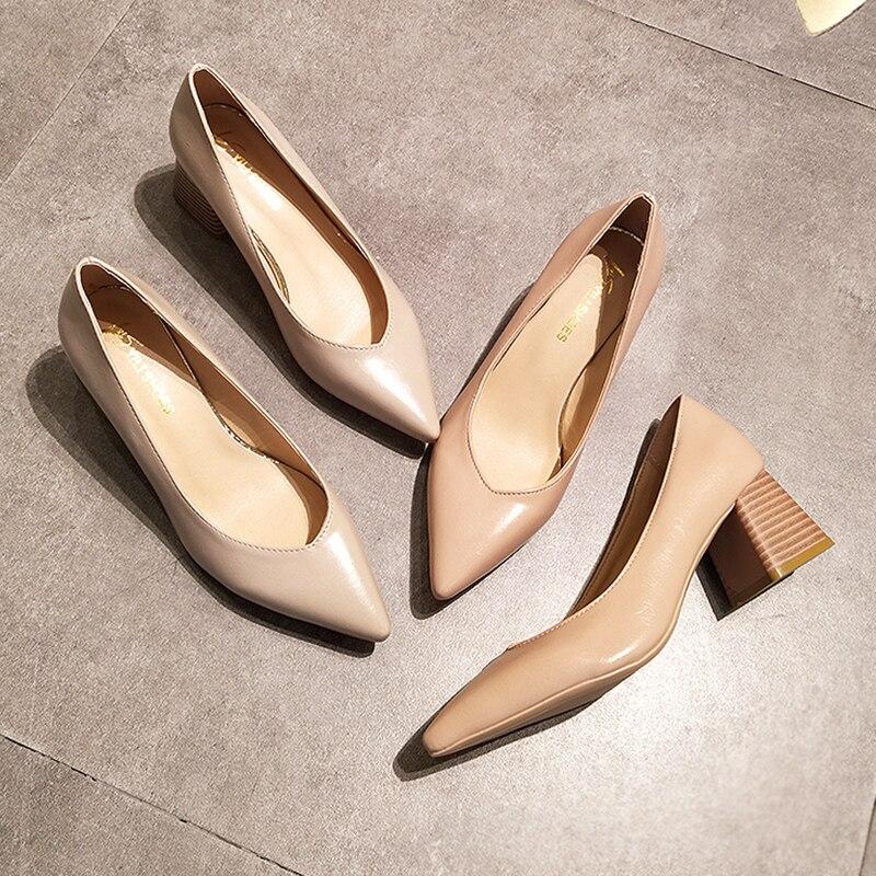 Eooodoit bloco robusto bombas de salto apontado dedo do pé fechado vestido de escritório senhora med calcanhar couro bombas clássicas sapatos
