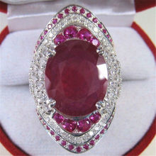 Female Big Red Ring 925 Sterling Silver Filled CZ Stone Ring Vintage Party Wedding Rings For Women(China)