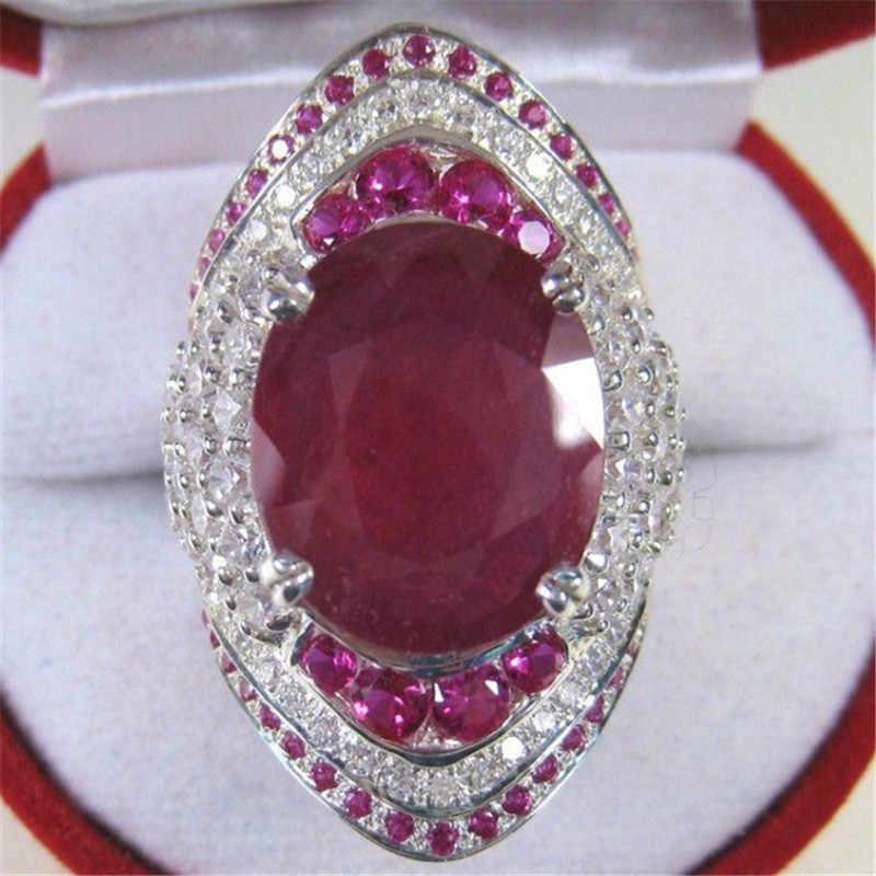 Nữ Đỏ Lớn Nhẫn Nữ Bạc 925 Lấp Đầy Nhẫn Nữ Đá CZ Vintage Đảng Nhẫn Cưới Cho Nữ