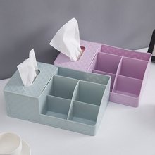 New Pink Blue Purple Tabletop Makeup Stationery Organizer with Tissue Box Make Up Brush Storage Case Cosmetic Container Boxes