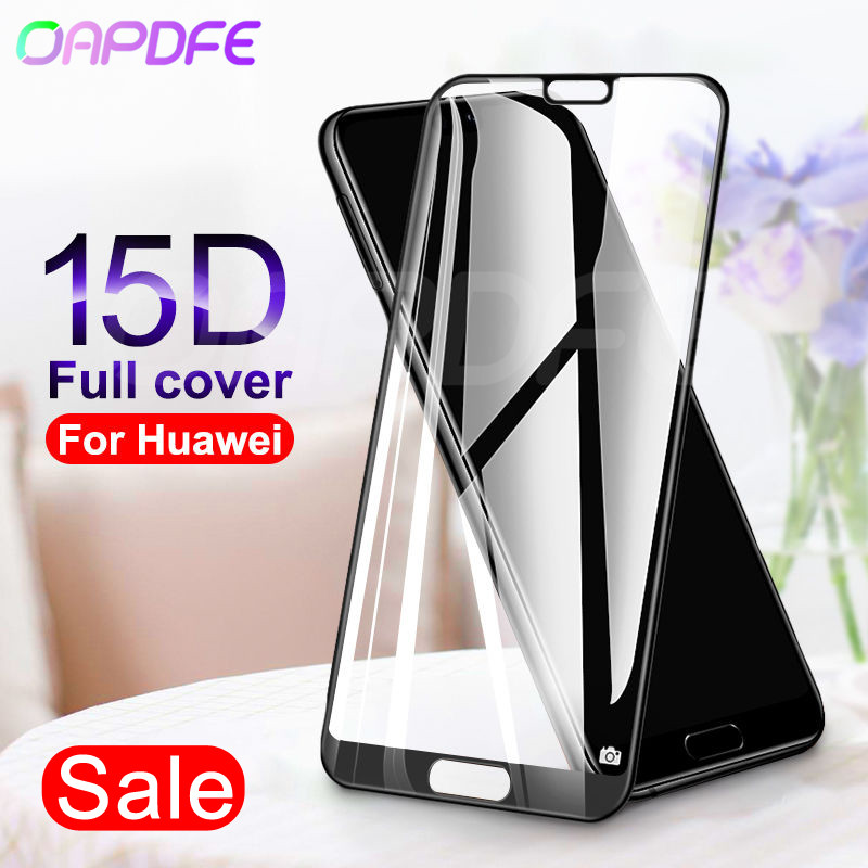 15D Protective Glass on the For Huawei P20 Lite Pro P9 P10 Lite Plus P Smart Tempered Screen Protector Glass Protection Film