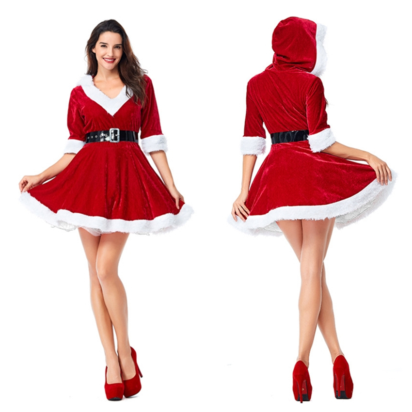 Christmas Sexy V-neck Women Tutu Dress Santa Claus Halloween Costumes Cosplay Red New Year Party Dresses For Woman Clothing Set