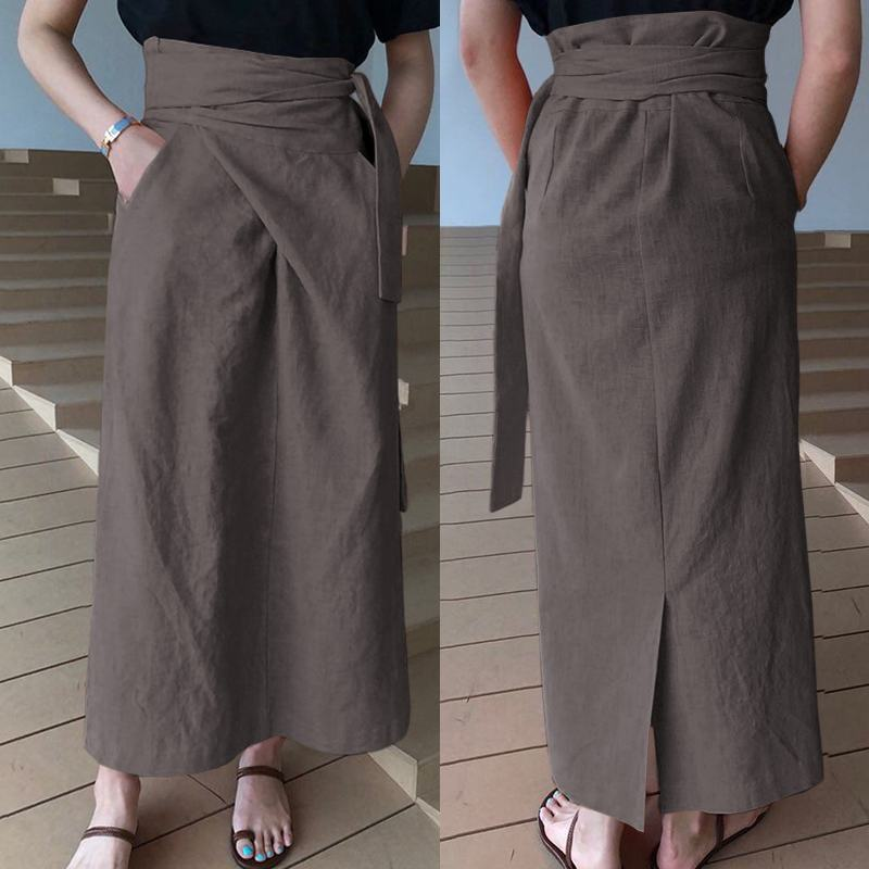 Celmia Women's Fashion Maxi Skirts Sexy High Waist Bandage Linen Skirt Casual Loose Solid Female Buttoms Pockets Long Skirt 5XL