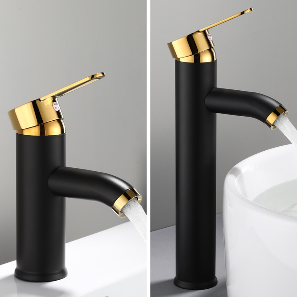 POIQIHY Bathroom Basin Faucets Cold Hot Mixer Basin Sink Tap Black Golden Water Kitchen Faucet Bathroom POIQIHY Bathroom Basin Faucets Cold/Hot Mixer Basin Sink Tap Black Golden Water Kitchen Faucet Bathroom Vessel Sink Tap One Hole