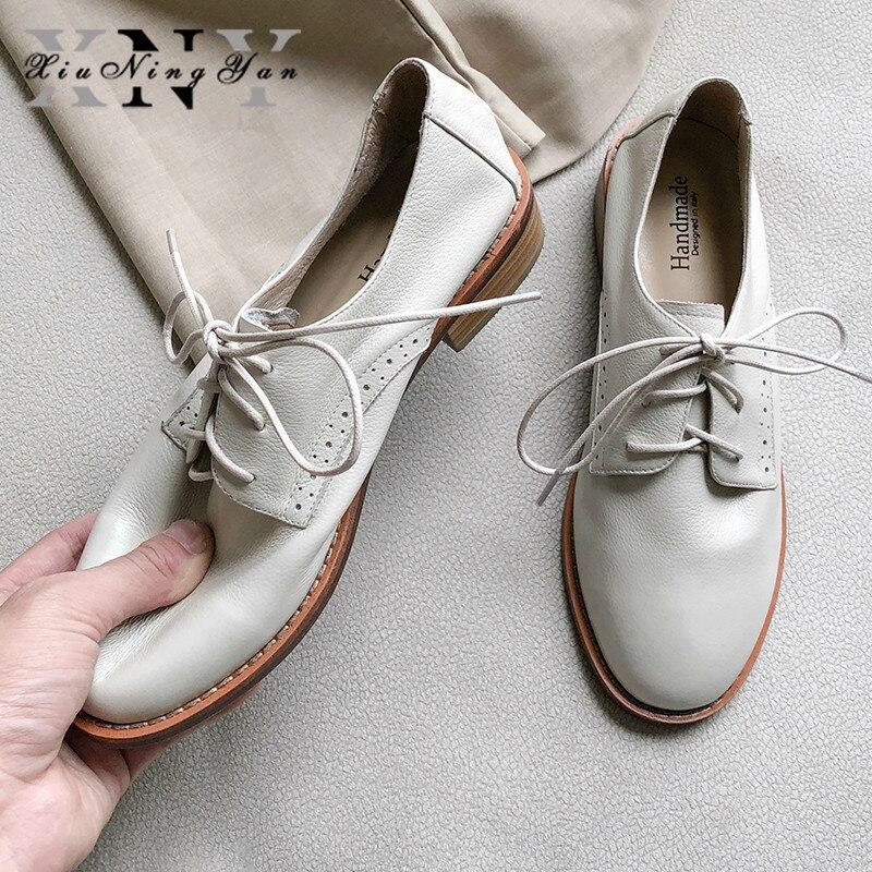 XiuNingYan chaussures de luxe femme marque Super doux en cuir véritable femmes chaussures plates à lacets mode à la main décontracté casual Oxfords
