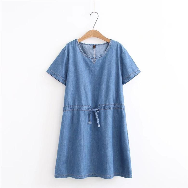 2019 Denim robe grande taille femmes robe bleu Jeans chemise femmes robes bureau perte été robe Vestido Femininos