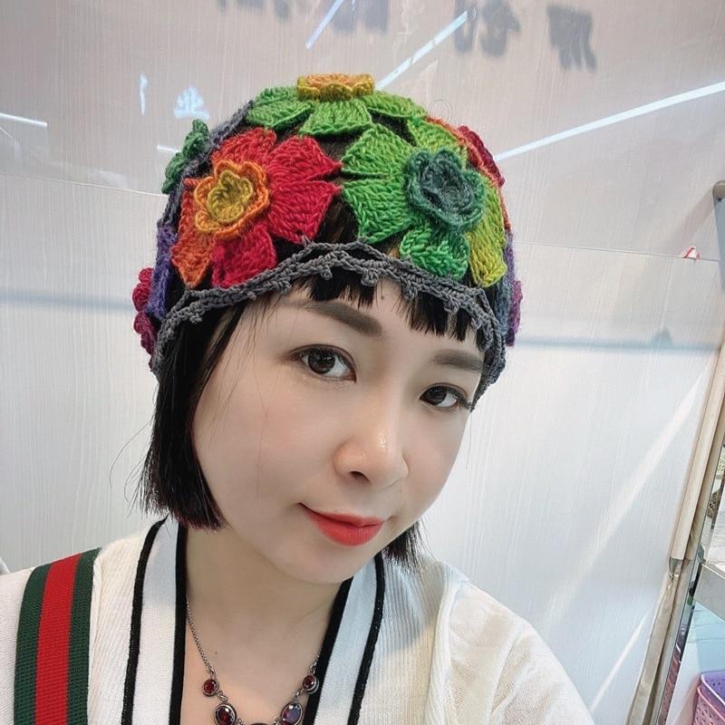 Women Hollow Flower Knitted Fisherman Hat Handmade Crochet Matching Basin Hat Spring Summer Sunscreen Sun Hats Female Panama