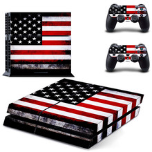 USA Flag PS 4 Sticker Play station 4 Stickers PS4 Vinyl Skin Decal Pegatinas Adesivo For PlayStation 4 console and 2 controller
