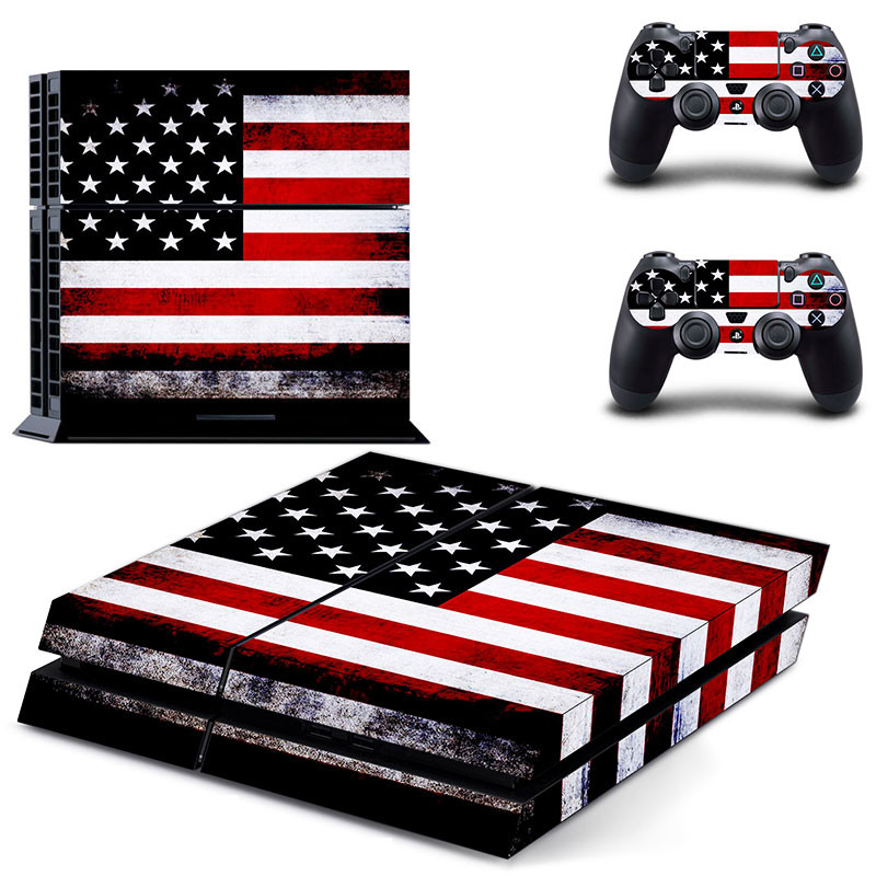 USA Flag PS 4 Sticker Play station 4 Stickers PS4 Vinyl Skin Decal Pegatinas Adesivo For PlayStation 4 console and 2 controller image