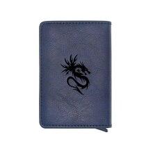 Dragon Design Credit Card Holder Wallet Men Women Metal RFID Vintage Aluminium Bag Crazy Horse PU Leather Bank Cardholder Case