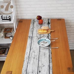 Image 2 - 33 × 145 センチメートルホーム装飾農家木材笑顔幾何学模様の綿リネンテレビスタンドベッドサイドキャビネットテーブルランナー