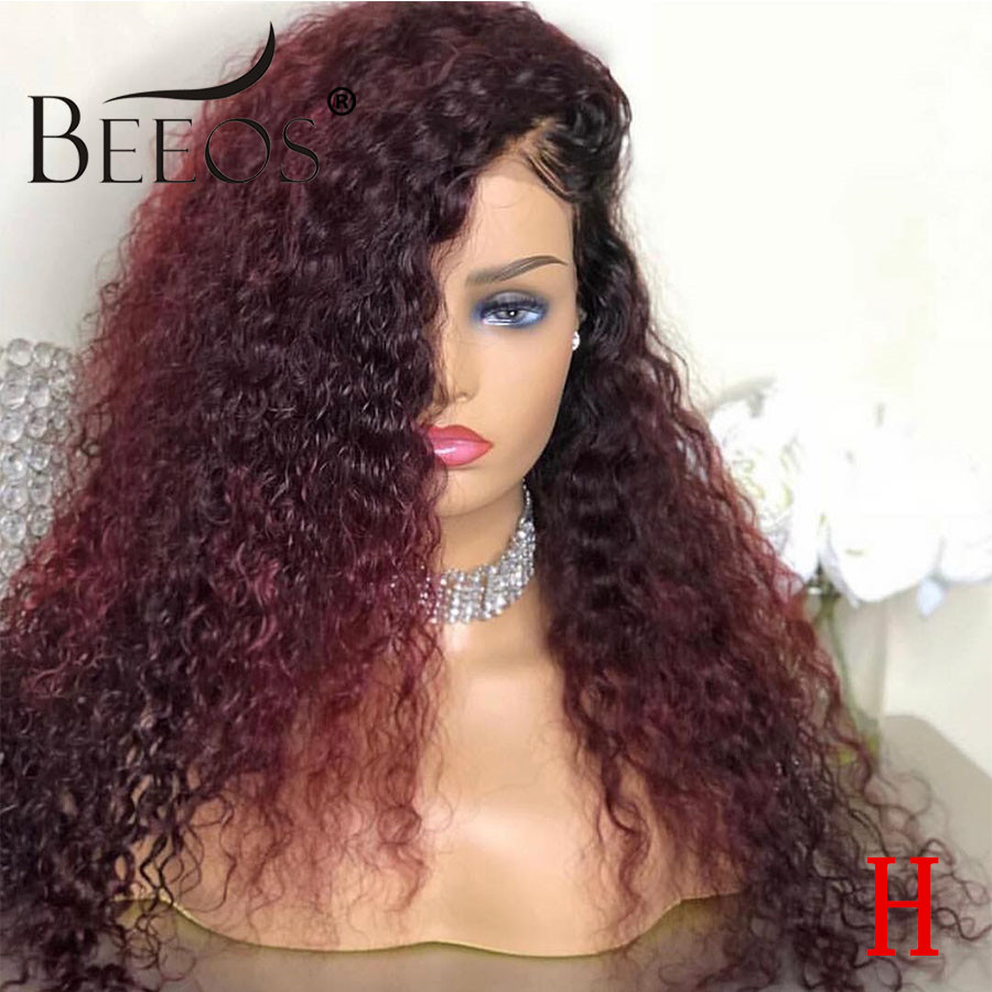 13*6 Ombre 99J Colored Lace Front Human Hair Wigs Curly Black Women Deep Part Burgundy Lace Front Wig PrePlucked Brazilian Remy