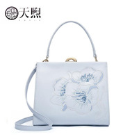 Pmsix New Women Leather handbag quality cowhide embroidery Luxury fashion women bags tote women leather shoulder Crossbody bags