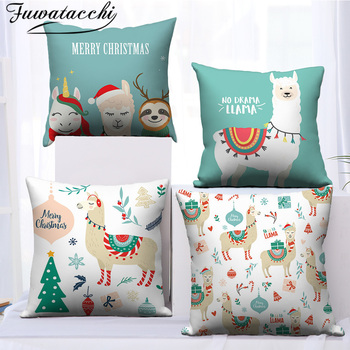 Fuwatacchi LLAMA Queen Cushion Cover Animal  Printed Polyester Pillowcase for Home Sofa Decoration Throw Pillow Covers fuwatacchi ocean mermaid starfish pattern cushion cover cartoon throw pillowcase for home sofa decorative pillows covers 30 50cm