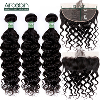 Brazilian Milan Wave Bundles With 13x6 Frontal Remy Human Hair Weave Ear To Ear Lace Frontal Closure With Bundles Aircabin Hair