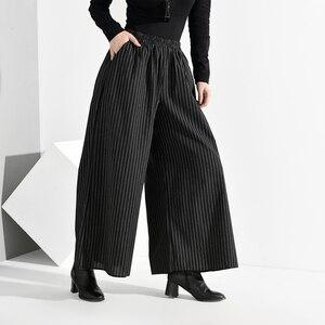 Image 3 - EAM pantalones de pierna ancha a rayas largo para mujer, pantalón negro, cintura alta elástica, corte holgado, moda, Primavera, Otoño, 2020, SA9550