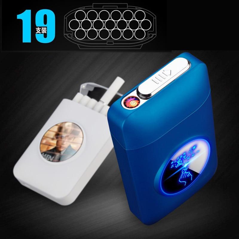 Metal Cigarette Case Box With USB Electric Lighter LED Logo Design Tobacco Holder Windproof Electronic Plasma Arc Lighter Gifts