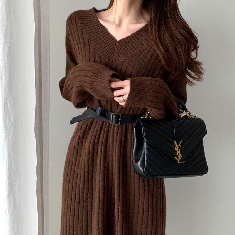 Nowy wzór kobiety jesień zima seksowny V Neck sweter z dzianiny z długim rękawem sukienka z długim rękawem prosto przytulny sweter wąskie sukienki