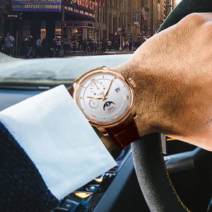 Image 4 - Suíça marca de luxo lobinni men relógios gaivota relógio automático mecânico masculino safira fase da lua 50m à prova dwaterproof água L1888 1