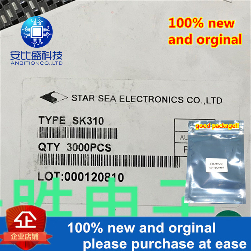 30pcs 100% New And Orginal 3A100V Schottky Barrier DO214AB Silk-screen SK310 In Stock