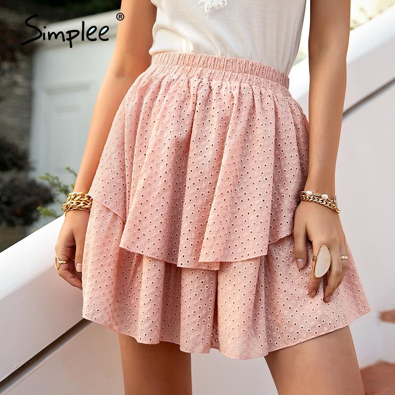 Simplee Pink Cotton High Waist Mini Skirt Casual Ruffled A-line Women Short Skirt Solid Summer Cotton Rmbroidered Female Skirt
