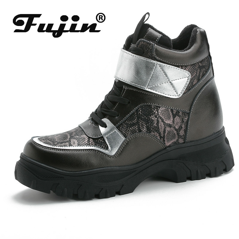 Fujin Women Boots Winter Fashion Warm womens snakeskin boots Flat Bottom Ankle Snake Print Leisure Women SnowBoots in Ankle Boots from Shoes