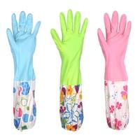Velvet Latex Gloves Garden Gloves For Home Cleaning Rubber  Waterproof Tableware Gloves Kitchen  Vegetable Cleaning Gloves