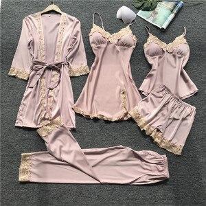 Image 4 - Daeyard ensemble pyjama en soie, Robe Sexy en dentelle, pantalon élégant, vêtements de nuit, pour la maison, 5 pièces, printemps été