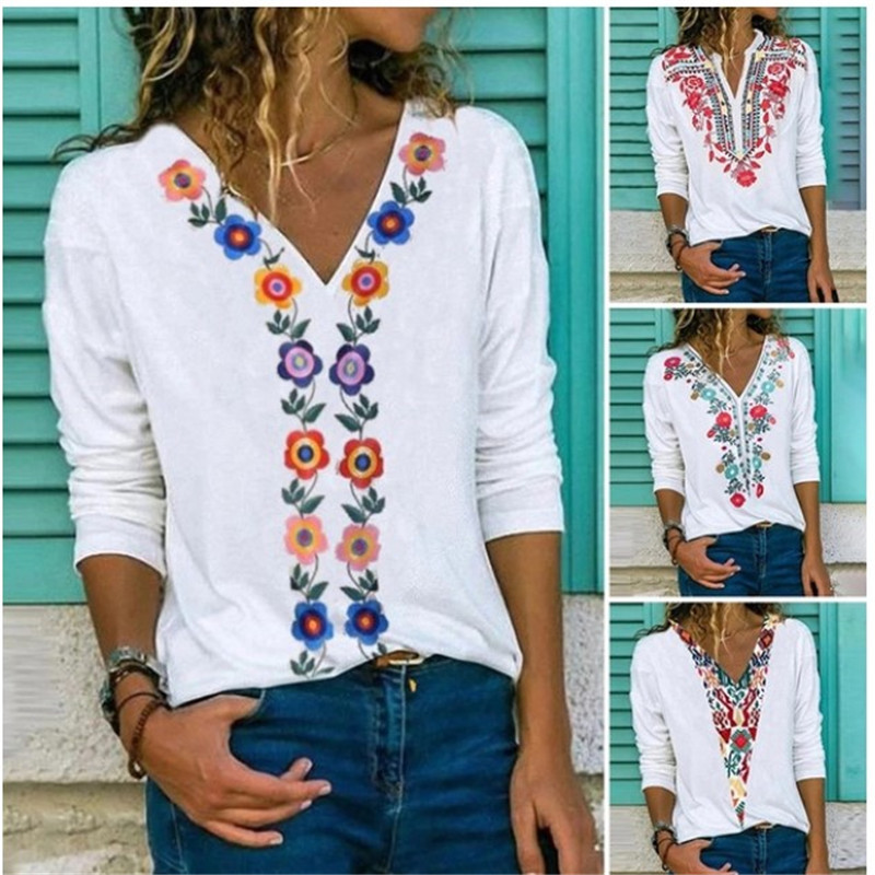 Summer Bohemian Style Shirt Top Women's Shirt Top Women's Cotton Loose Thin Top Bohemian Style Printed Half Sleeve