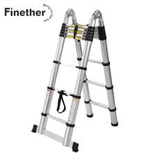 Finether 3,8 м портативная сверхмощная многоцелевая алюминиевая складная телескопическая каркасная лестница с петлями для дома Лофт офиса