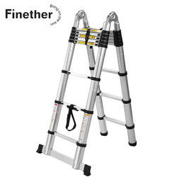 Finether 3.8M Portable Heavy Duty Multi-Purpose Aluminum Folding Telescoping A-Frame Ladder with Hinges for Home Loft Office