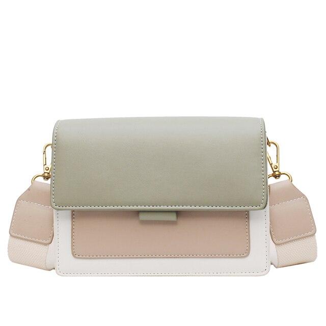 Contrast color Leather Crossbody Bags For Women 2021 Travel Handbag Fashion Simple Shoulder Simple Bag Ladies Cross Body Bag 6