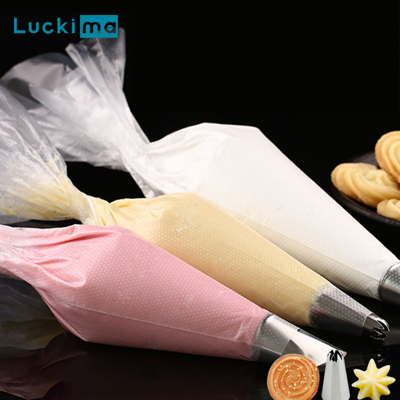 100pcs Thicken Disposable Pastry Bag Small/Large Size Piping Bag For All Size Nozzles Icing Fondant Cake Cream Bag Bakeware Tool