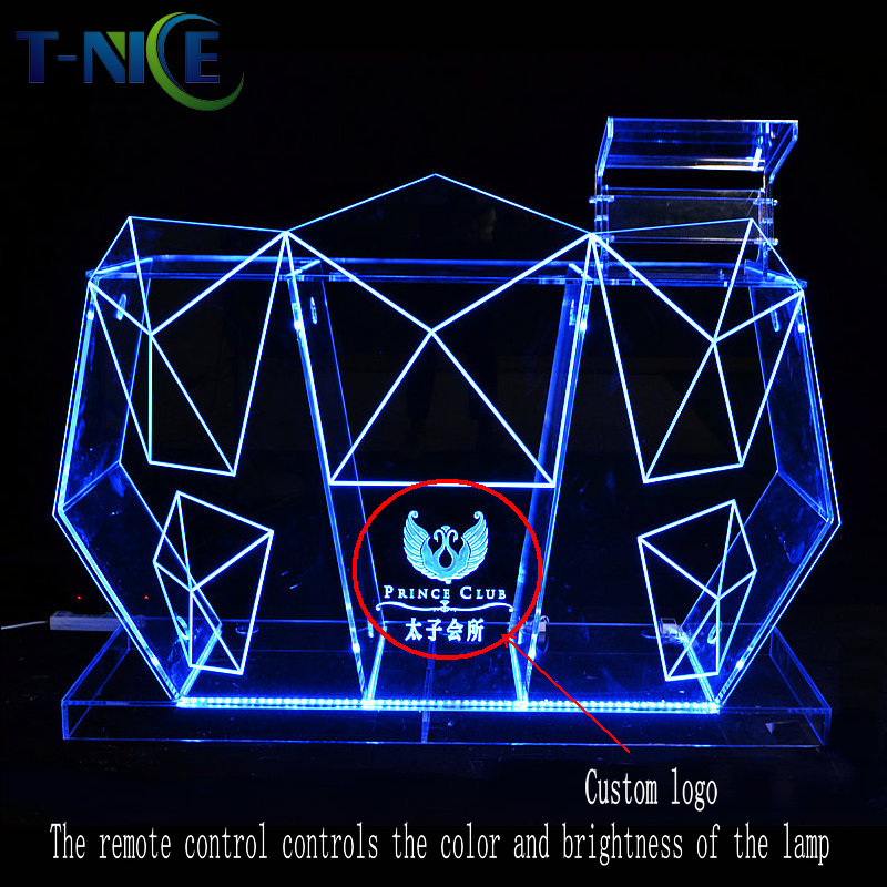 Facrory Outlet Commercial Furniture <font><b>Bar</b></font> Tables <font><b>Led</b></font> DJ Table AKLIKE Nightclub Equipment Acrylic <font><b>Bar</b></font> <font><b>Counter</b></font> DJ Booth Dj Stand image