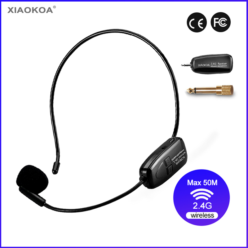 2.4G Wireless Microphone 40-50m Stable Wireless Transmission Headset And Handheld 2 In 1 For Voice Amplifier XIAOKOA