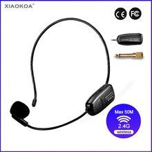 Mikrofon bezprzewodowy 2.4G 40 50m stabilna transmisja bezprzewodowa zestaw słuchawkowy i ręczny 2 w 1 wzmacniacz głosu XIAOKOA