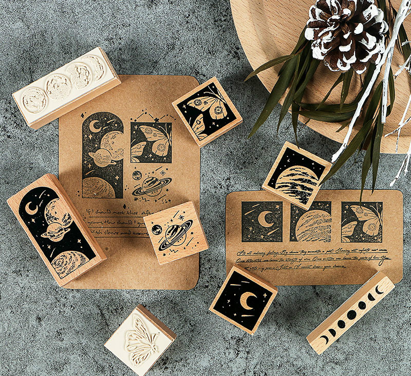 8 Designs Mixed The Cool Planet Theme Wooden Stamps Pack DIY Sticker Journal Diary Decoration Supplies Free Shipping