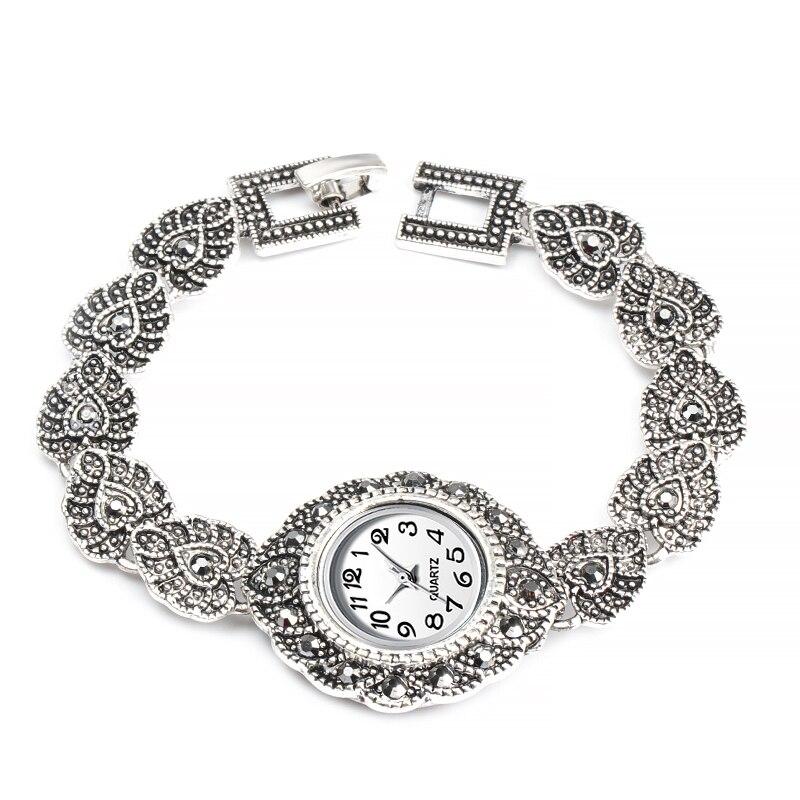 2019 New Fashion Designer Quartz Watch Antique Silver Bangles Crystal Bracelet Wristwatch For Women Vintage Watches Montre Femme
