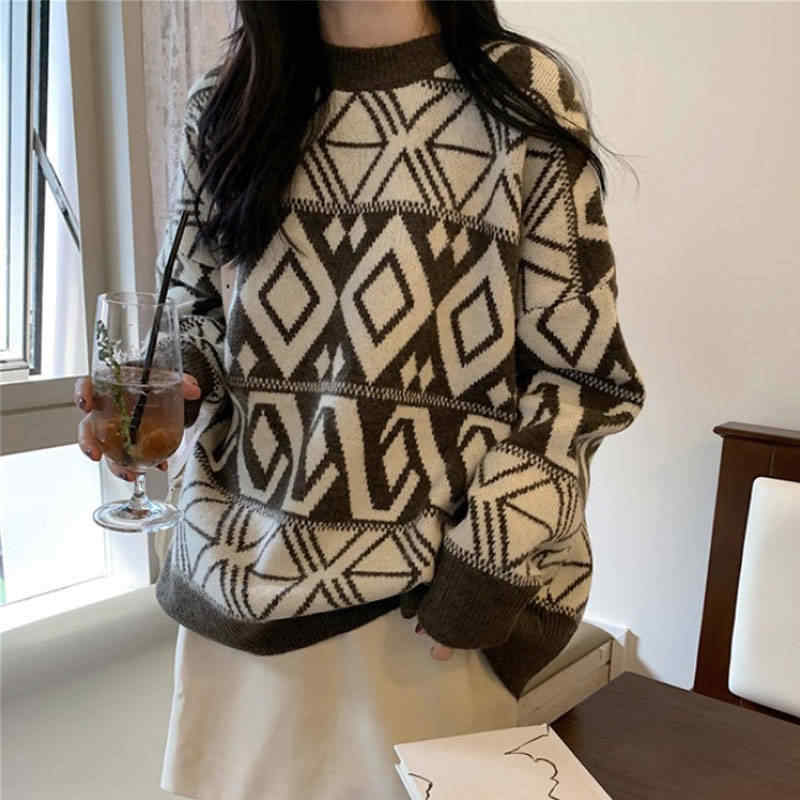 Oversized Knit Sweater Winter Clothes Women Warm Cashmere Sweater Loose Casual O-Neck Pullovers Long Sleeved Sweater