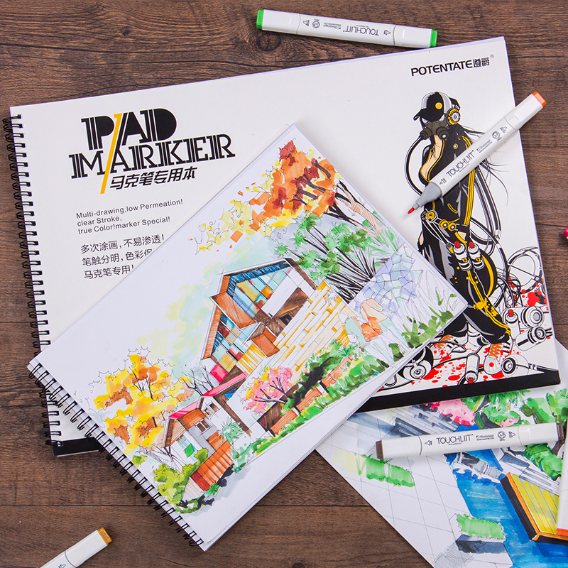 32 Sheets Spiral Marker Pad Watercolor Book Pad Hand-Painting Sketchbook Marker Pads Stationery Art Supplies Sketch Book 120g/m2